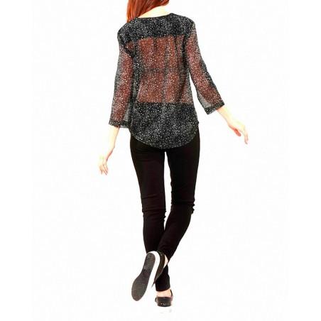 Blusa SALLY Kaporal Jeans - Camisas|Polos - Ropa de marca Kaporal Jeans Blusa Mujer Manga de 3/4 cuello pico color negro con bot