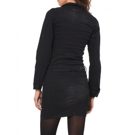 kaporal Dress Hetty Black - Vestidos y monos - Ropa de marca Kaporal Vestido Mujer Manga larga cuello polo color negro primavera
