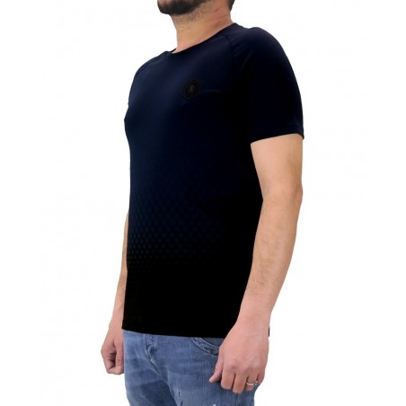 Camiseta de manga corta para hombre Dirk Bikkembergs negra y navy EB020 - Camisetas|Tops - Ropa de marca Dirk Bikkembergs Camise