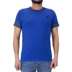 Camiseta de manga corta para hombre Dirk Bikkembergs azul detalle trama hombro y cuello EB053 - Camisetas|Tops - Ropa de marca D