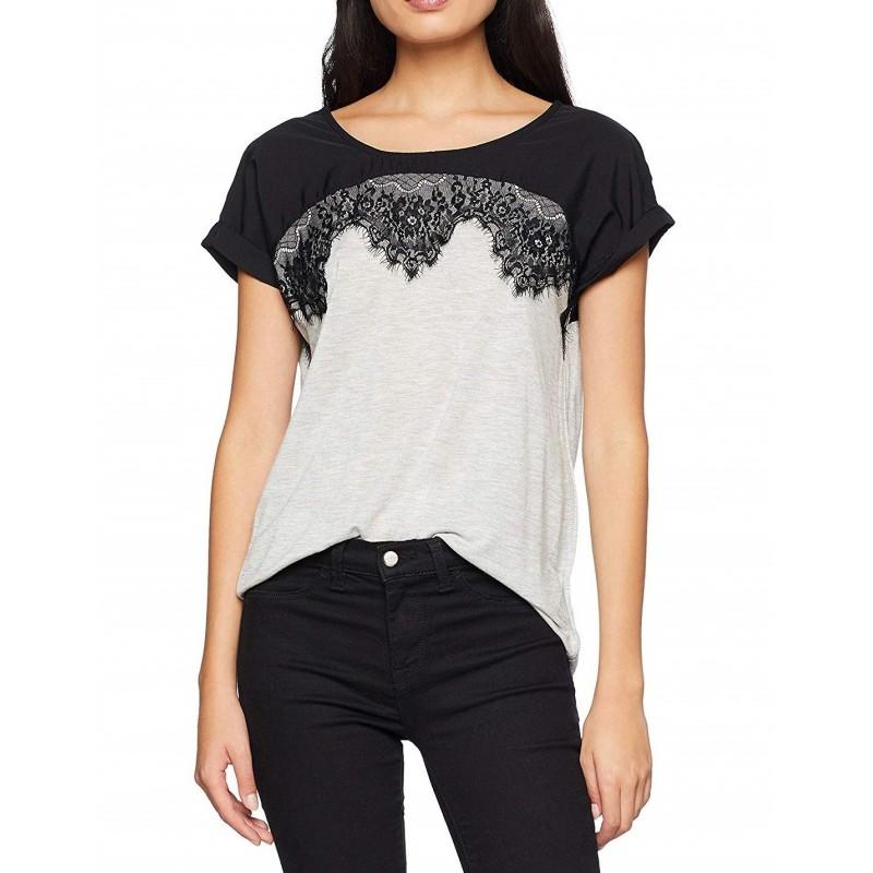 camiseta mujer manga corta color gris...