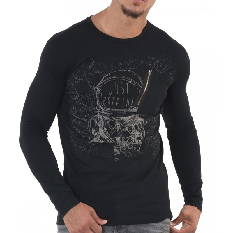 camiseta manga larga hombre negra...