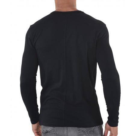 camiseta manga larga hombre negra kaporal petru - Camisetas Tops - Ropa de marca Kaporal Jeans Camiseta Hombre Manga larga cuell