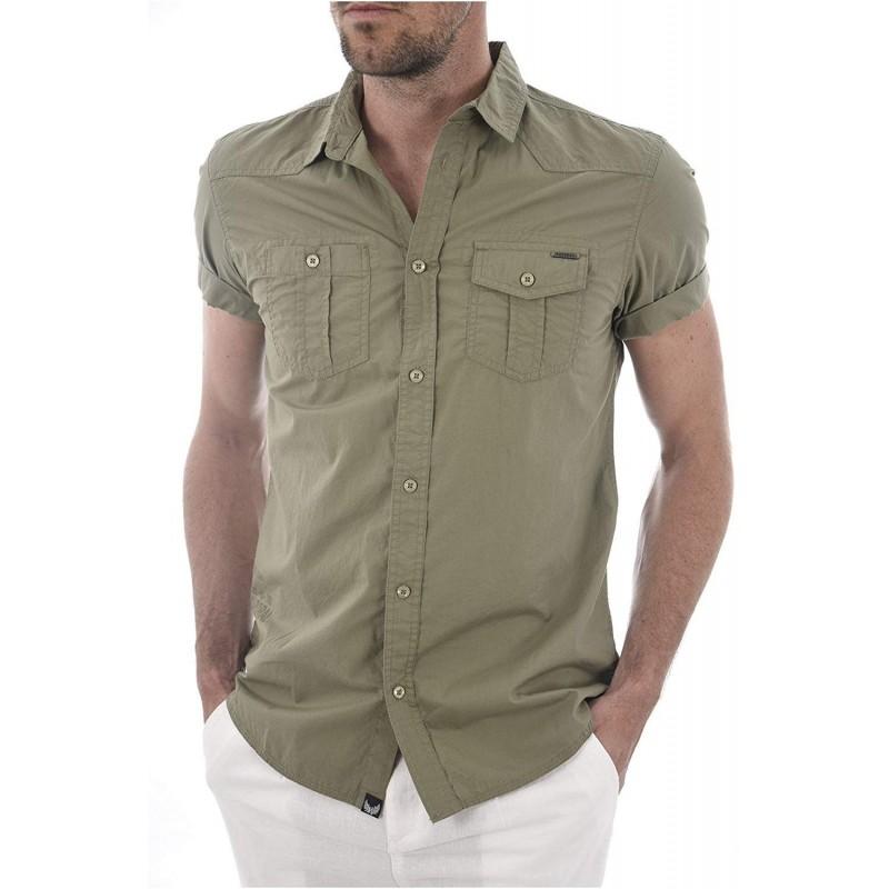 Camisa de manga corta color caqui...