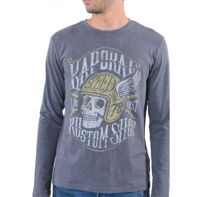 camiseta manga larga hombre gris kaporal mosco - Camisetas|Tops - Ropa de marca Kaporal Jeans Camiseta Hombre Manga larga cuello
