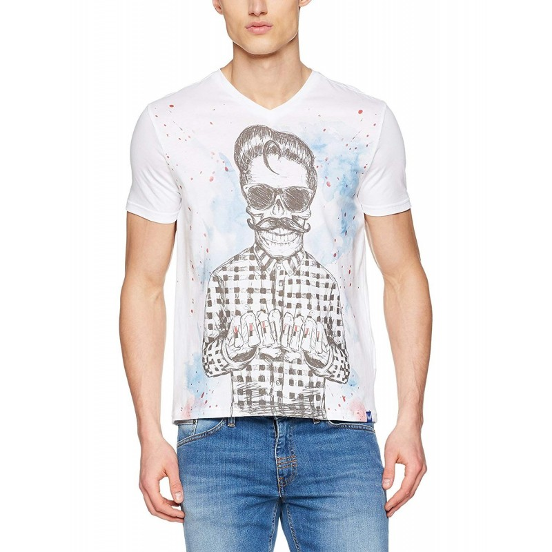 camiseta manga corta hombre blanco...