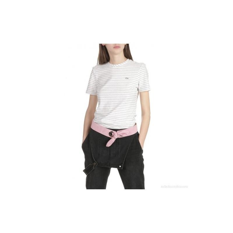 Camiseta mujer blanco con raya...