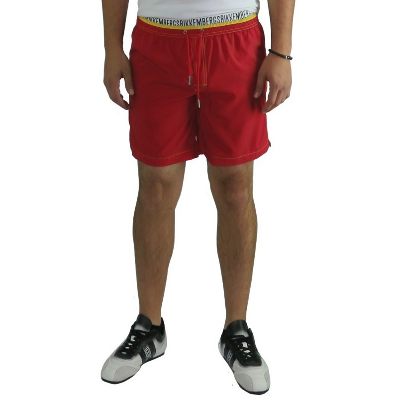 Bikkembergs Mare Uomo Red Spain - Beachwear - Designers brand clothing Dirk Bikkembergs Mens Swimwear colour red with rubber and
