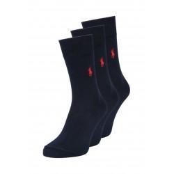 Man socks pack 3 pieces navy blue Ralph lauren 84023pk - Branded socks for men - Designers brand clothing Polo Ralph Lauren Men'