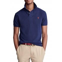 Polo homme RALPH LAUREN à manches courtes en bleu marine avec logo rouge sur la poitrine RL710795080007 - Polos|Chemises - Vêtem
