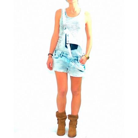Mono JFHILLS-MONO-JEANS LTC - Bermudas shorts y petos - Ropa de marca Le Temps des Cerises Short Mujer color azul con boton y cr